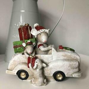 Adorable Mice in Car Freestanding Christmas Decoration Money Box