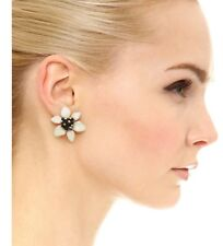Kate Spade Lovely Lilies Gold-Plated cream black statement Stud Floral Earrings
