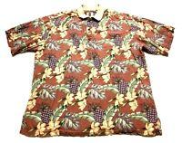 Tori Richard Mens Red Floral Front Pocket Hawaiian Polo Shirt Size Large