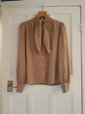 Vintage Leo Chevalier Brodkin Sz Uk 12 Heavy Silky Feel Pussy Bow Blouse Shirt