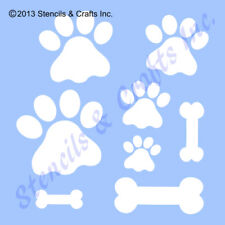 "PAW STENCIL DIFFERENT SIZES PAWS PRINTS ANIMAL BONE TEMPLATE CRAFT NEW 8"" X 10"""