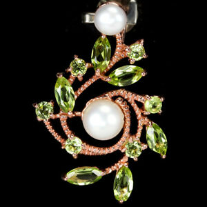 NATURAL AAA WHITE PEARL CABOCHON & GREEN PERIDOT STERLING 925 SILVER PENDANT