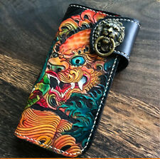 Fashion Genuine Leather hand painted long lion king antique hand made wallet