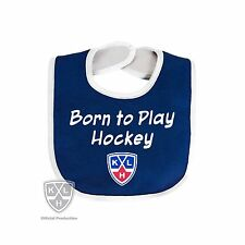 Born to play hockey Child Infant Bib - with KHL Russian Hockey League Logo