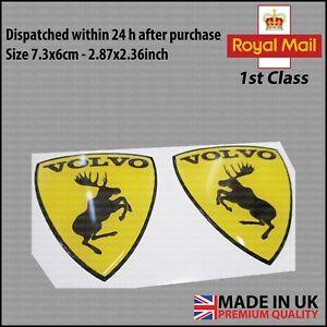 Set Of Volvo Prancing Moose Gel Domed Badge Emblem Car Body Bumper Wing Glossy