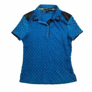 Jamie Sadock Blue Black Textured accordion pleated 1/4 Snap Golf Shirt Sz S