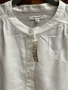🌹NWT MADEWELL WHITE COTTON CROPPED BLOUSE • XLARGE