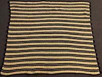 "Vintage Handmade Large 72"" x 62"" Butter Yellow Brown Retro Afghan Blanket Throw"