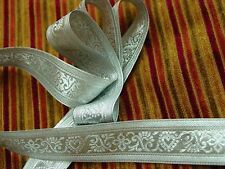 "8 YARDS of Fancy 1 1/2"" SILVER METALLIC Renaissance Jacquard Ribbon Trim"