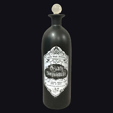 NEMESIS NOW DEADLY NIGHTSHADE MATTE BLACK BOTTLE 28CM. HALLOWEEN HAUNTED HOUSE.