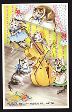 Cats Artist Design Postcard Music Cat playing Bowed Instrument Cello Musician PC