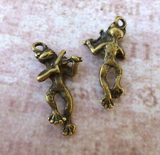 Pack of 20 - Antique Bronze Charm Musical Frog