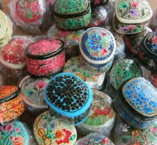 Wholesale Job Lot Of 10 Hand Painted Antique Style Lacquer Box Snuff / Jewellery