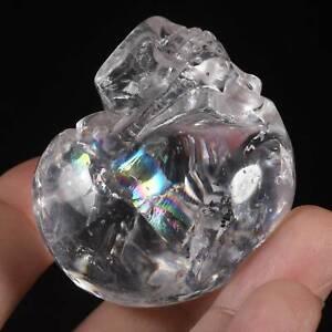 "1.97""Natural Clear Quartz Crystal Carved Skull Metaphysic Healing Power #32U93"