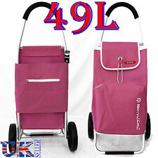 New EAGLE 49L LARGE LIGHT WEIGHT 2 WHEEL SHOPPING TROLLEY PULL CART BAG PINK