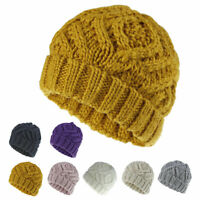 Women's Chunky Knitted Cuffed Beanie Ski Cap Slouchy Skull Hat Thick Winter Warm