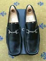Gucci Mens Shoes Black Leather Horsebit Loafers UK 9 US 10 EU 43