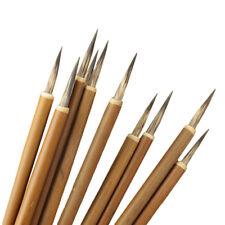 3Pcs Wooden Round Handle Paint Brush Hook Line Pen Artist Draw Painting Pen Set