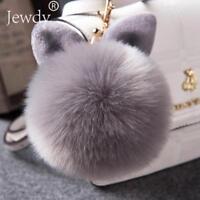 Fluffy Pom Pom Rabbit Ball Keychain Soft Puff Bunny Fur Key Ring Hand Bag Charms