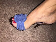 $180 CHARLES DAVID Suede Leather Clog Wood Lux Heels Shoes Blue Floreat Sky 37/6