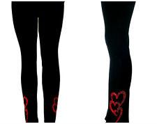 REGULAR FULL-LENGTH LEGGINGS EMBELLISHED RHINESTONE TRIO OF RED HEARTS