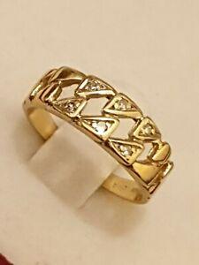 14ct 585 14k 14kt  Yellow Gold Diamond Ring Size M Nice