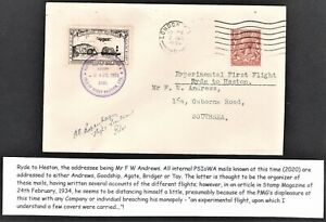 PORTSMOUTH SOUTHSEA ISLE OF WIGHT AVATION LTD FLIGHT COVER 1934 11/2D GV RYDE