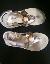 NWOT Naturino girls sandals, gold, cute Euro size 29, US size 11.5 real leather