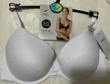 M&S BODY UNDERWIRED SUPER LIGHT SOFT CUPS PLUNGE PUSH UP BRA In  WHITE Size 36D