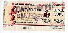 CALCIO   BIGLIETTO  DI SERVIZIO  MILAN  SAMPDORIA   CAMPIONATO  1986-87