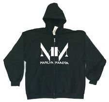 Marilyn Manson MM Double Logo Black Zip Up Sweatshirt Hoodie 2XL New Official