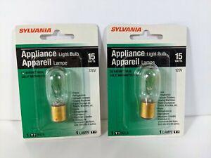 Lot Of 2 Sylvania 15w T7 Indoor Appliance Light Bulbs -120v - DC Bayonet Base