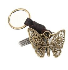 Real Leather Antique Bronze Butterfly Dog Tag Charm Keyring Key Chain Ring UK