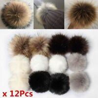12Pcs DIY Fluffy Rabbit Fox Faux Fur Pompom Fur Pom Poms Ball For Hat Bag UK