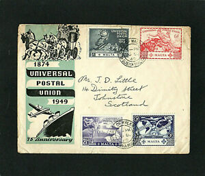 MALTA - 1949 - KG VI - UPU - FIRST DAY COVER - WITH PRINCE OF WALES SLIEMA CDS