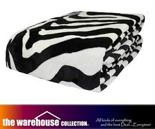 ODYSSEY Q/K ZEBRA FAUX FUR MINK SOFT LOUNGE SOFA THROW RUG BLANKET 240x260cm