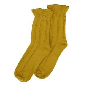 Millie Mae New Womens Pretty Ruffle Top Ochre/Mustard Socks - 75% Cotton