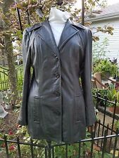 Women's Winlit Black Glove Leather Tapered Blazer Button Down Lined Jacket Small