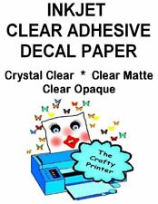 INKJET Poly/Vinyl Adhesive Decal Paper - CRYSTAL CLEAR or MATTE - 1 to 5 Sheets