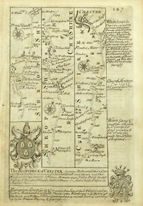 WHITCHURCH to CHESTER, Antique Strip Road Map, Owen & Bowen, 1753.