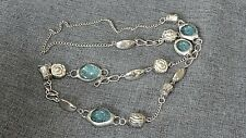 """Silvertone Flower and Blue Glass Bead Necklace 36"""""""