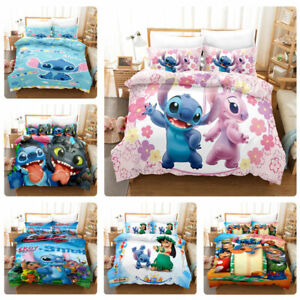 Lilo Stitch Kids Baby Bedding Set Duvet Cover Pillowcases Quilt Comforter Cover