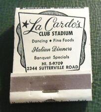 Matchbook - La Cardo's Club Stadium Sacramento CA FULL Italian food