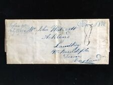 NY STAFFORD 1843 STAMPLESS COVER TO ENGLAND PAID 18-3/4¢ 8 PENCE DUE INCOMING