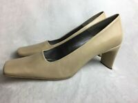 "Enzo Angiolini Heels Womens 8 M Pumps Beige Leather Square Toe 3"" Heels 'Arria'"