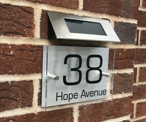 Solar Light Door Sign Numbers House Sign Plaques Door Personalised Name Plate