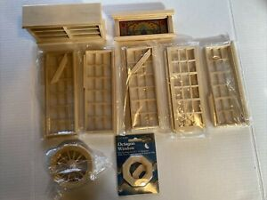NOS Wood Doors Shop Case Windows Dollhouse Miniatures 1:12