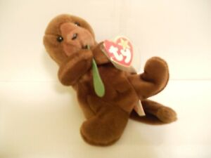 """Ty Beanie Baby """"SEAWEED"""" Otter 7 inch Stuffed Toy 1995 (All Tags)"""