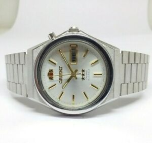 VINTAGE ORIENT CRYSTAL ORIGINAL DIAL DAY DATE AUTOMATIC MEN'S 21 JEWELS WATCH