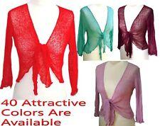 Womens Bolero Crochet Shrug Top Tie Up Front Knit Bali Crop Cardigan RRP 17.99